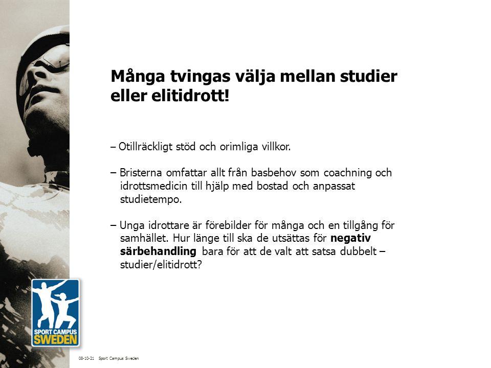 Sport Campus Sweden, SCS – ett nytt nätverk av högskolor, kommuner och specialidrottsförbund.