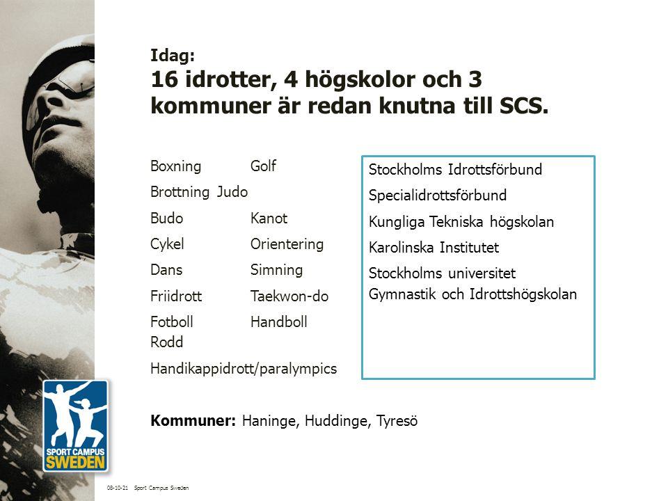 Idag: 16 idrotter, 4 högskolor och 3 kommuner är redan knutna till SCS.