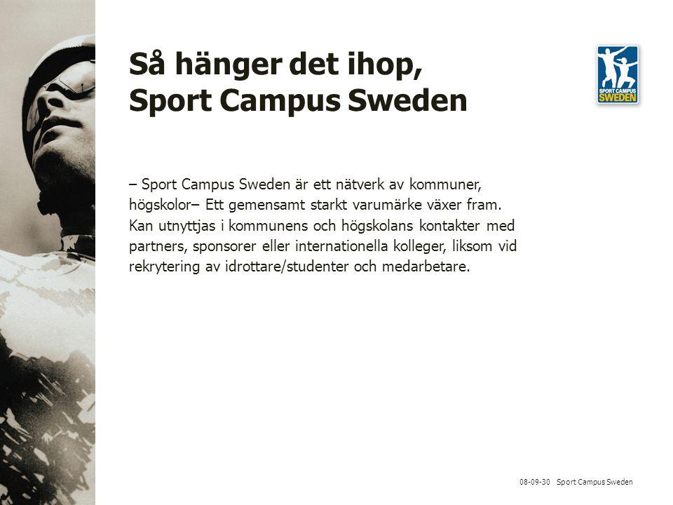 08-09-30 Sport Campus Sweden Så hänger det ihop, Sport Campus Sweden – Sport Campus Sweden är ett nätverk av kommuner, högskolor– Ett gemensamt starkt varumärke växer fram.