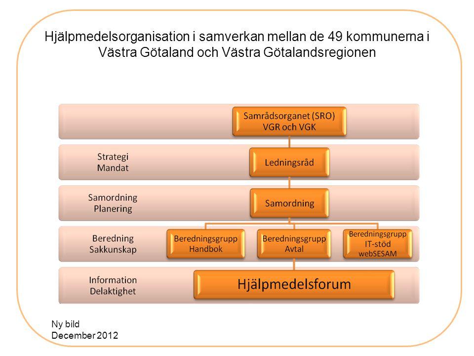 Hjälpmedelsorganisation i samverkan mellan de 49 kommunerna i Västra Götaland och Västra Götalandsregionen Ny bild December 2012