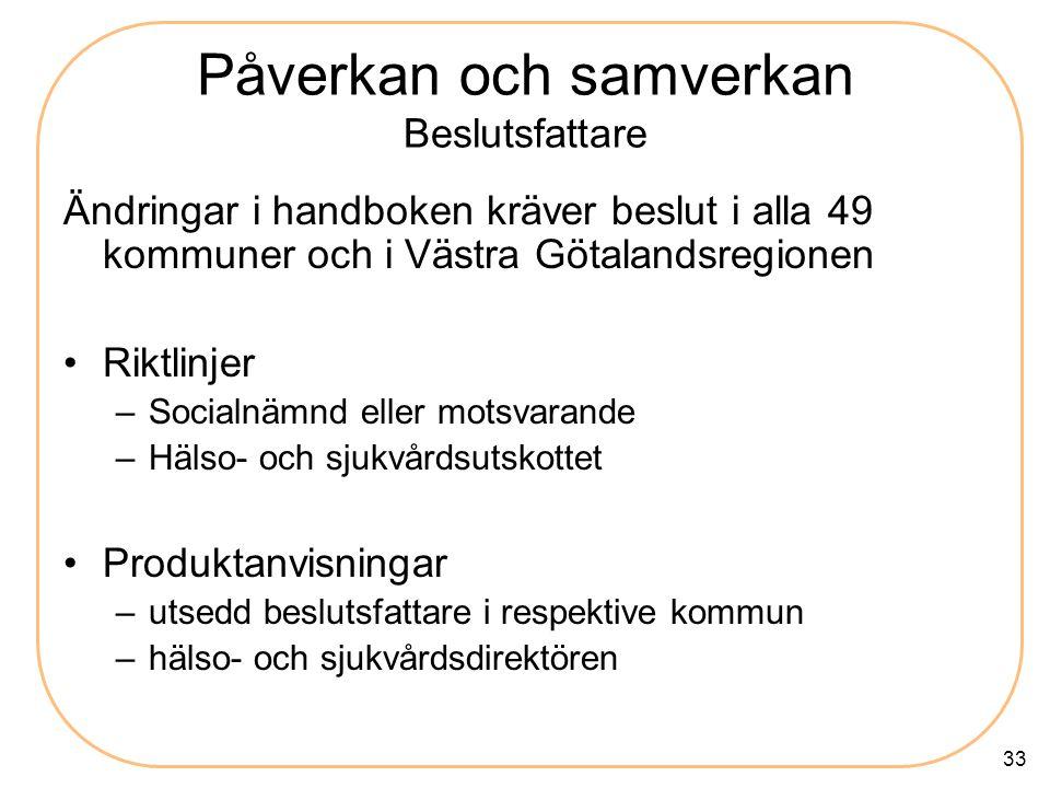 33 Påverkan och samverkan Beslutsfattare Ändringar i handboken kräver beslut i alla 49 kommuner och i Västra Götalandsregionen Riktlinjer –Socialnämnd eller motsvarande –Hälso- och sjukvårdsutskottet Produktanvisningar –utsedd beslutsfattare i respektive kommun –hälso- och sjukvårdsdirektören