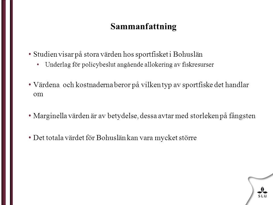 Sammanfattning Studien visar på stora värden hos sportfisket i Bohuslän Underlag för policybeslut angående allokering av fiskresurser Värdena och kost