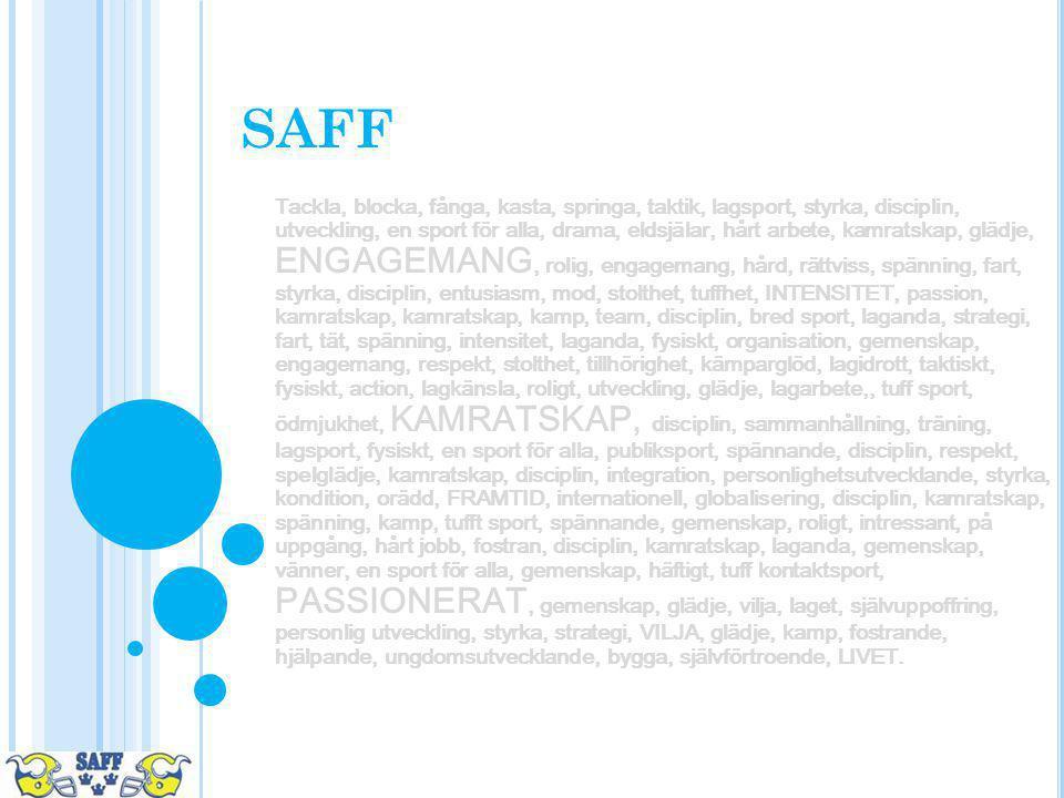 SAFF Tackla, blocka, fånga, kasta, springa, taktik, lagsport, styrka, disciplin, utveckling, en sport för alla, drama, eldsjälar, hårt arbete, kamrats