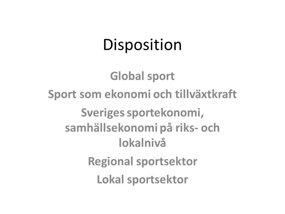 Disposition Global sport Sport som ekonomi och tillväxtkraft Sveriges sportekonomi, samhällsekonomi på riks- och lokalnivå Regional sportsektor Lokal sportsektor
