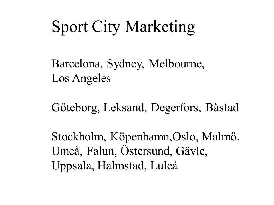 Sport City Marketing Barcelona, Sydney, Melbourne, Los Angeles Göteborg, Leksand, Degerfors, Båstad Stockholm, Köpenhamn,Oslo, Malmö, Umeå, Falun, Östersund, Gävle, Uppsala, Halmstad, Luleå