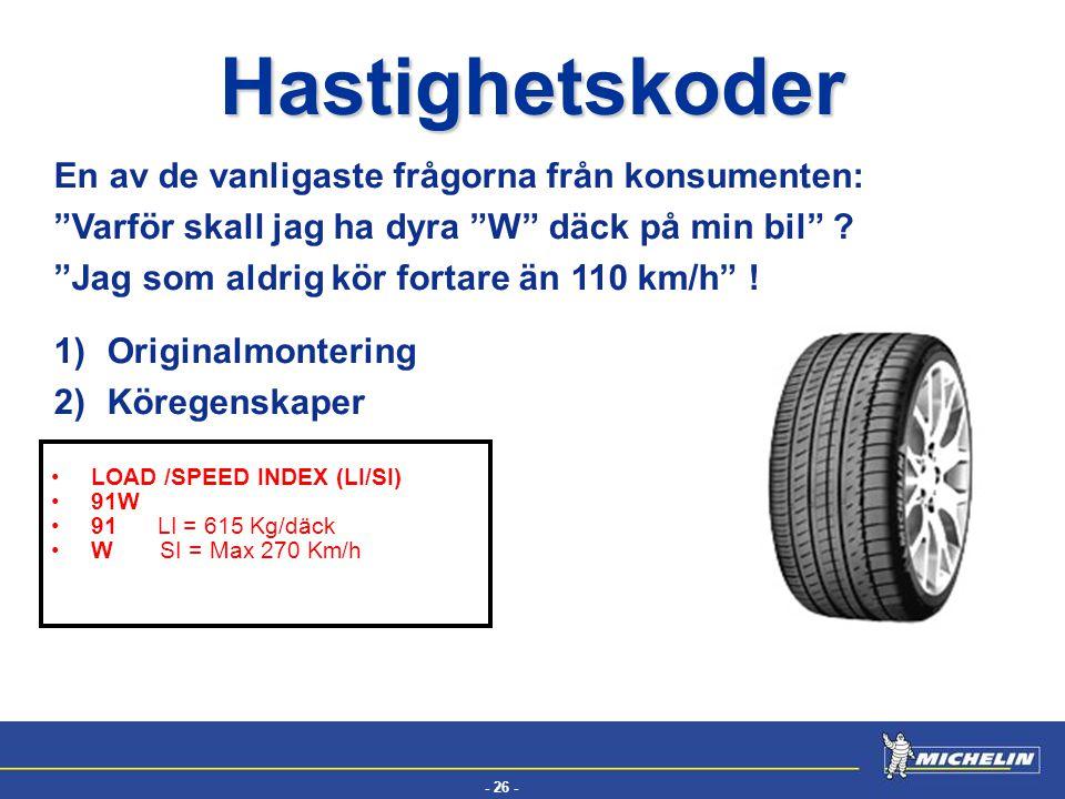 """- 26 - EFV Hastighetskoder LOAD /SPEED INDEX (LI/SI) 91W 91 LI = 615 Kg/däck W SI = Max 270 Km/h En av de vanligaste frågorna från konsumenten: """"Varfö"""