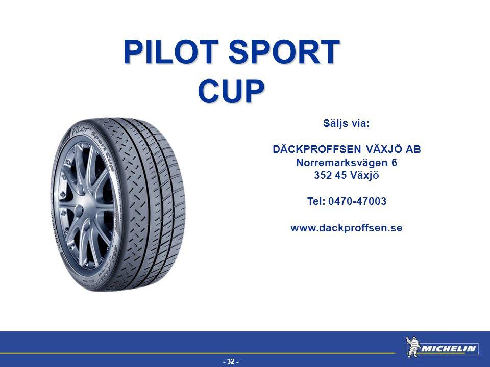 - 32 - EFV Säljs via: DÄCKPROFFSEN VÄXJÖ AB Norremarksvägen 6 352 45 Växjö Tel: 0470-47003 www.dackproffsen.se PILOT SPORT CUP