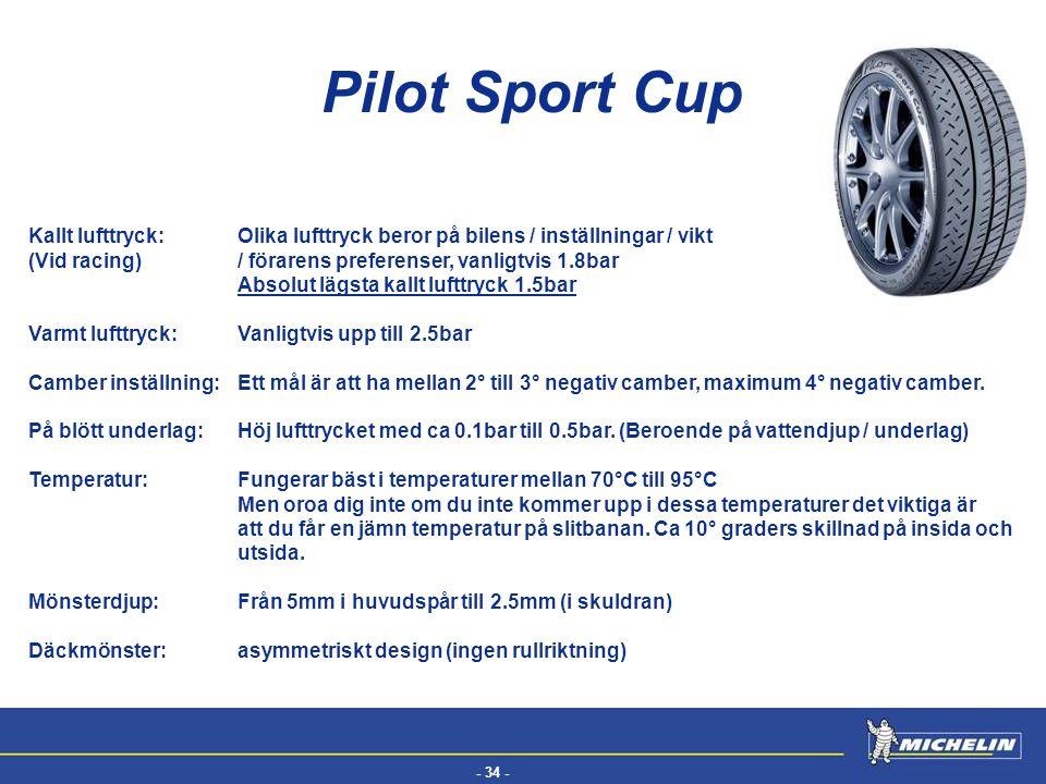 - 34 - EFV Pilot Sport Cup Kallt lufttryck:Olika lufttryck beror på bilens / inställningar / vikt (Vid racing) / förarens preferenser, vanligtvis 1.8b