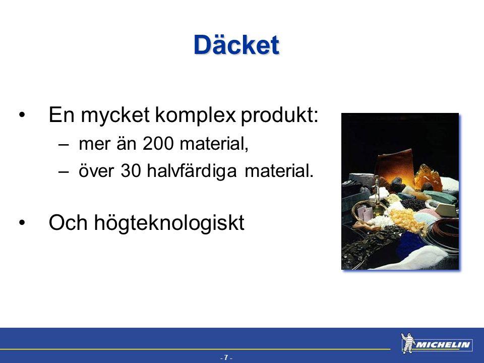 - 7 - EFV En mycket komplex produkt: – mer än 200 material, – över 30 halvfärdiga material. Och högteknologiskt Däcket