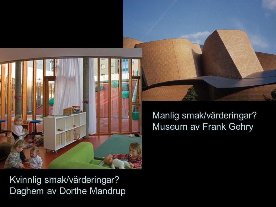 Kvinnlig smak/värderingar? Daghem av Dorthe Mandrup Manlig smak/värderingar? Museum av Frank Gehry