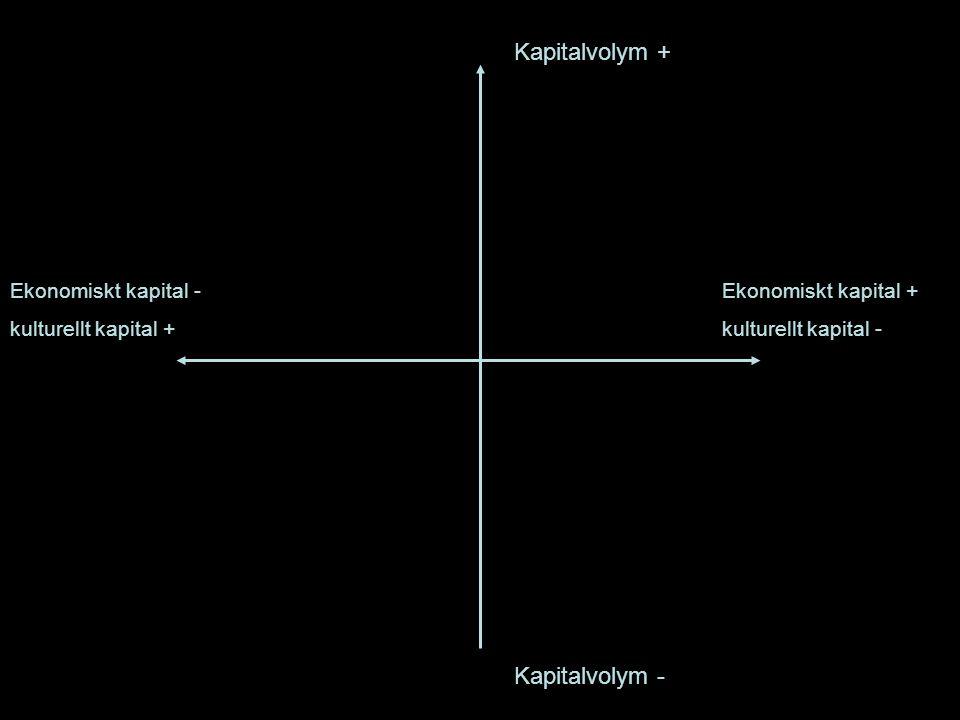 Kapitalvolym + Kapitalvolym - Ekonomiskt kapital + kulturellt kapital - Ekonomiskt kapital - kulturellt kapital +