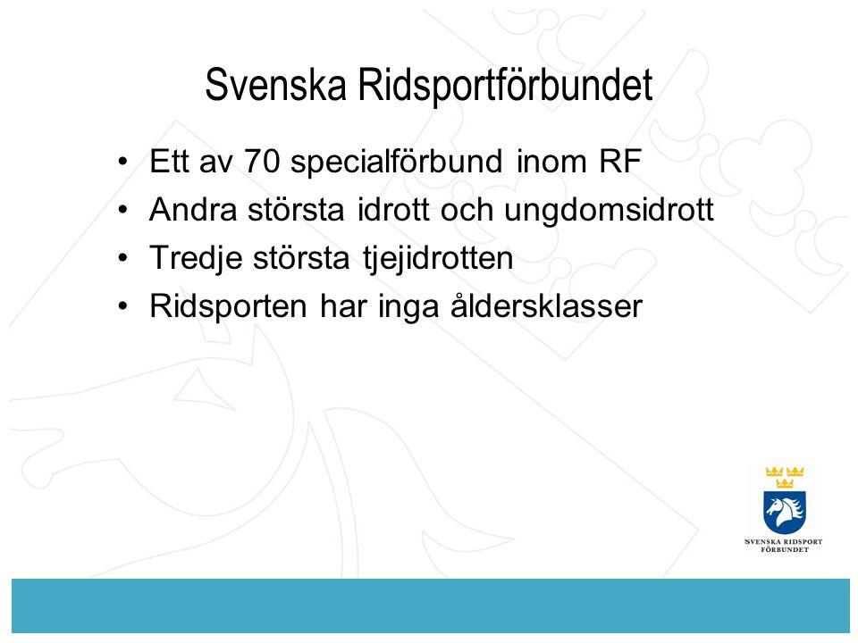 Svenska Ridsportförbundet Ett av 70 specialförbund inom RF Andra största idrott och ungdomsidrott Tredje största tjejidrotten Ridsporten har inga åldersklasser