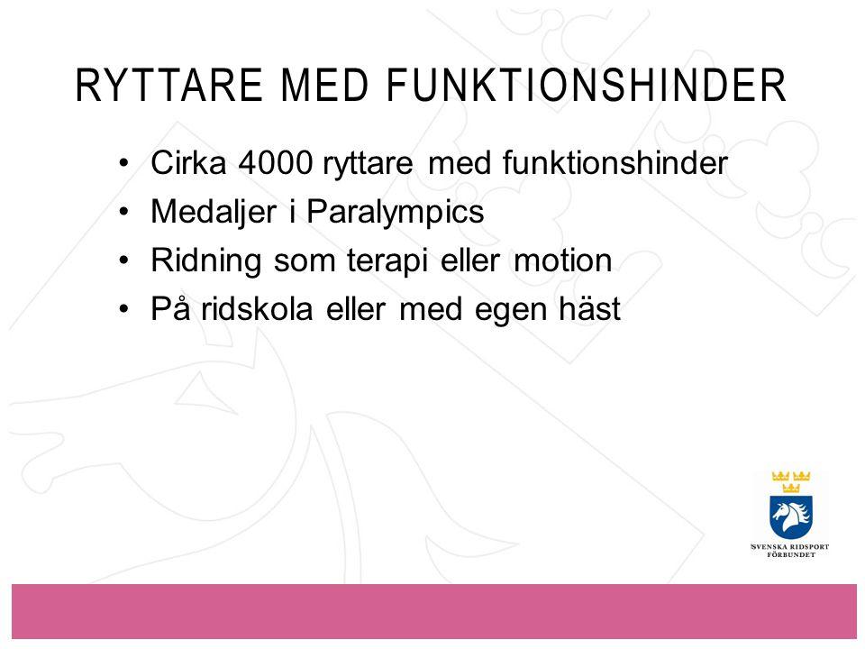RYTTARE MED FUNKTIONSHINDER Cirka 4000 ryttare med funktionshinder Medaljer i Paralympics Ridning som terapi eller motion På ridskola eller med egen häst