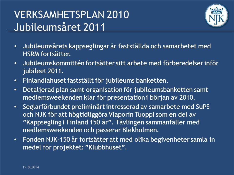 19.8.2014 VERKSAMHETSPLAN 2010 Jubileumsåret 2011 Jubileumsårets kappseglingar är fastställda och samarbetet med HSRM fortsätter.