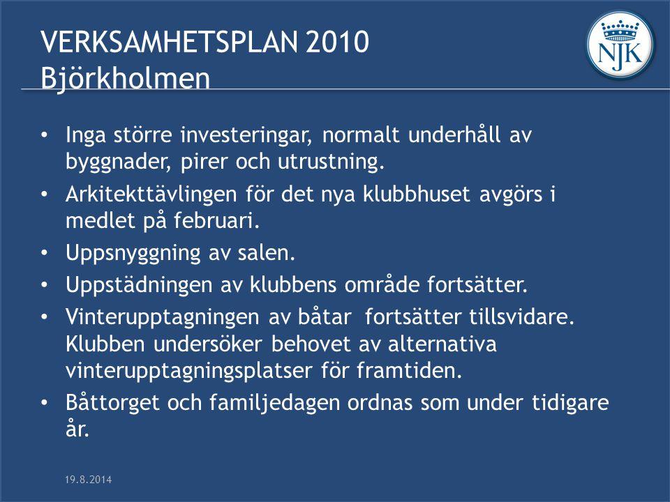 19.8.2014 VERKSAMHETSPLAN 2010 Björkholmen Inga större investeringar, normalt underhåll av byggnader, pirer och utrustning.
