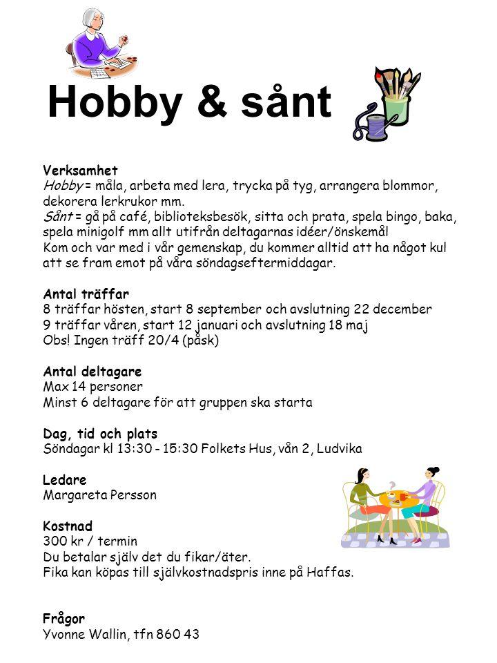 Verksamhet Hobby = måla, arbeta med lera, trycka på tyg, arrangera blommor, dekorera lerkrukor mm. Sånt = gå på café, biblioteksbesök, sitta och prata