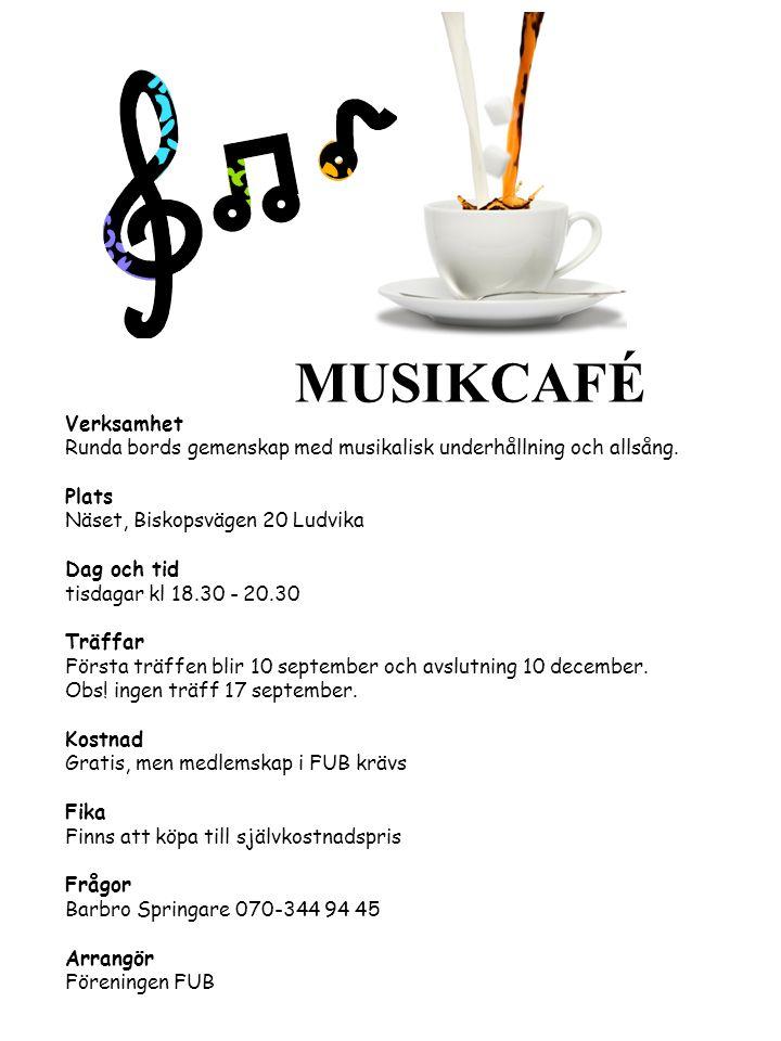 Verksamhet Runda bords gemenskap med musikalisk underhållning och allsång. Plats Näset, Biskopsvägen 20 Ludvika Dag och tid tisdagar kl 18.30 - 20.30