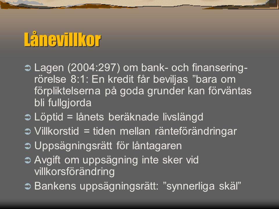 """Lånevillkor  Lagen (2004:297) om bank- och finansering- rörelse 8:1: En kredit får beviljas """"bara om förpliktelserna på goda grunder kan förväntas bl"""