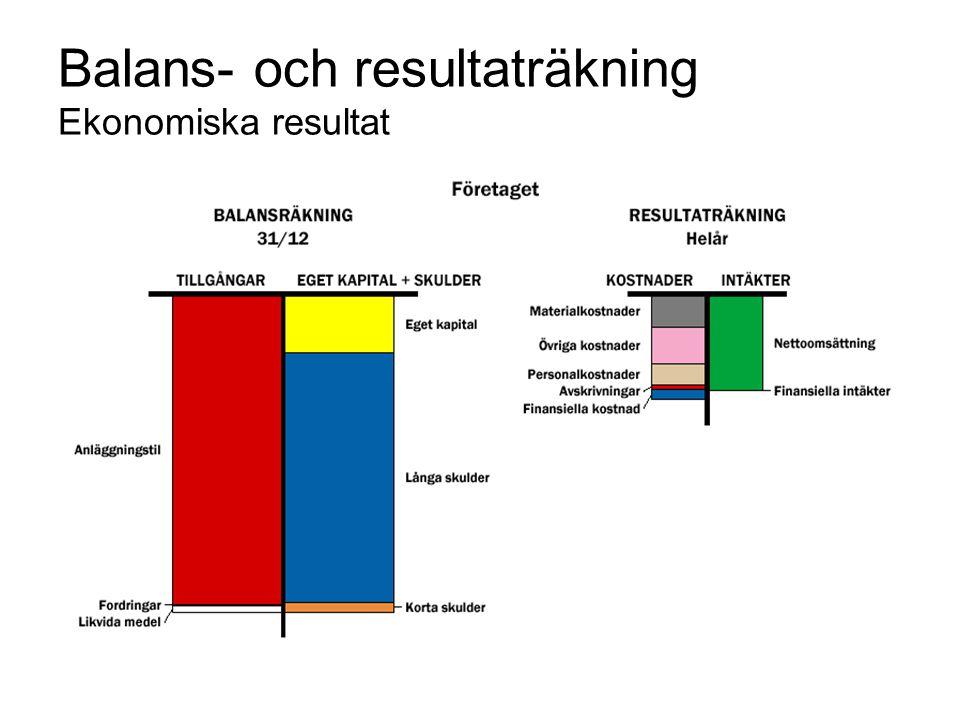 Balans- och resultaträkning Ekonomiska resultat