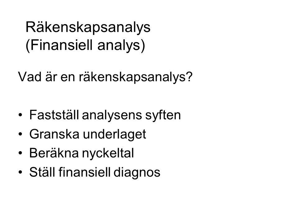 Räkenskapsanalys (Finansiell analys) Vad är en räkenskapsanalys? Fastställ analysens syften Granska underlaget Beräkna nyckeltal Ställ finansiell diag