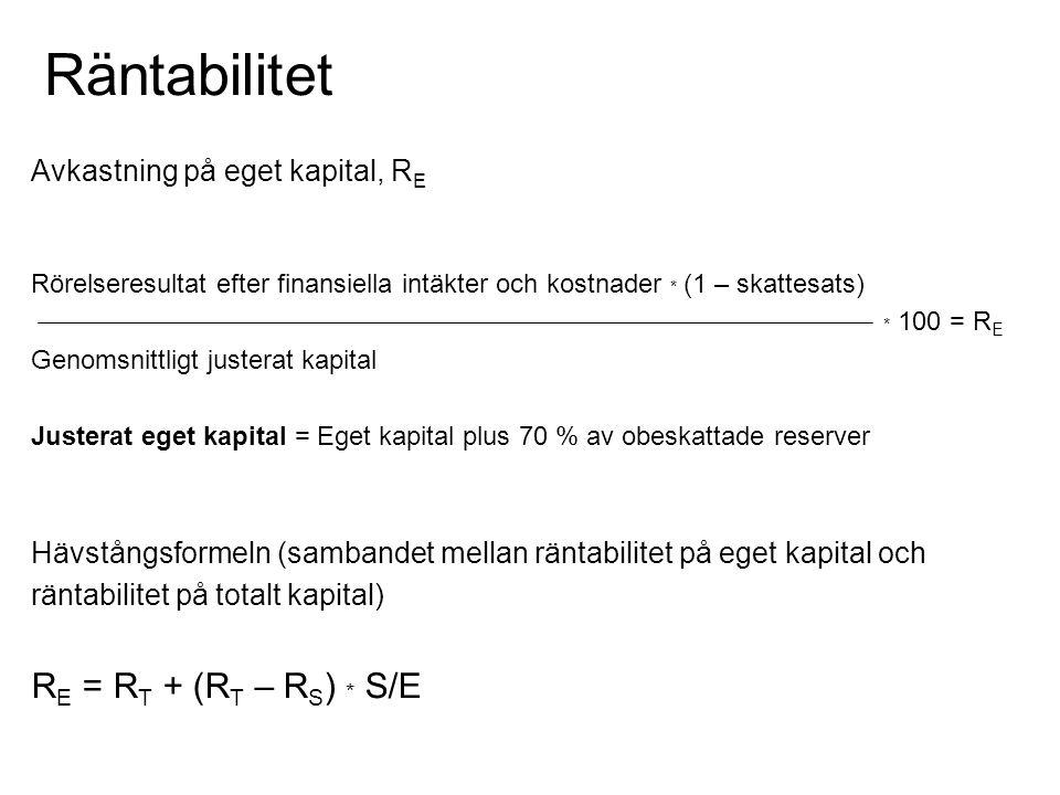 Räntabilitet Avkastning på eget kapital, R E Rörelseresultat efter finansiella intäkter och kostnader * (1 – skattesats) * 100 = R E Genomsnittligt ju