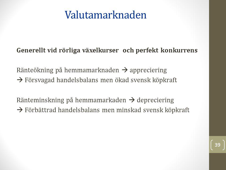 Generellt vid rörliga växelkurser och perfekt konkurrens Ränteökning på hemmamarknaden  appreciering  Försvagad handelsbalans men ökad svensk köpkraft Ränteminskning på hemmamarkaden  depreciering  Förbättrad handelsbalans men minskad svensk köpkraft Valutamarknaden 39