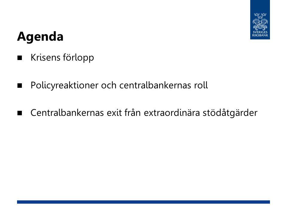 Agenda Krisens förlopp Policyreaktioner och centralbankernas roll Centralbankernas exit från extraordinära stödåtgärder