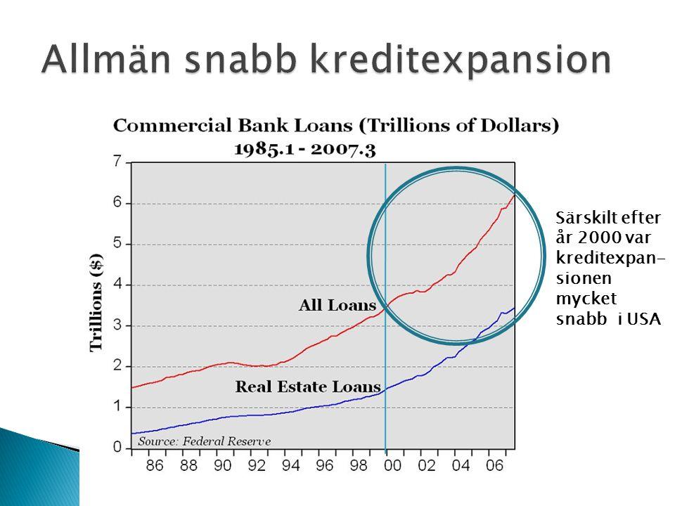 Särskilt efter år 2000 var kreditexpan- sionen mycket snabb i USA