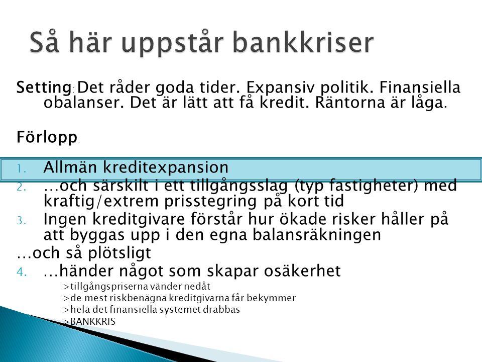 Setting : Det råder goda tider. Expansiv politik. Finansiella obalanser. Det är lätt att få kredit. Räntorna är låga. Förlopp : 1. Allmän kreditexpans