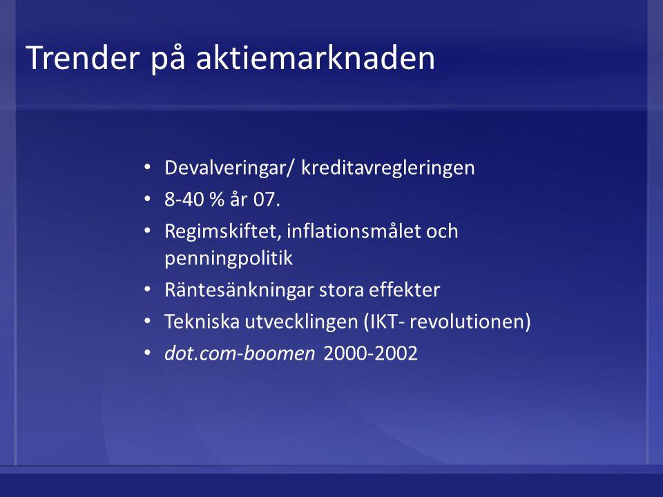 Devalveringar/ kreditavregleringen 8-40 % år 07. Regimskiftet, inflationsmålet och penningpolitik Räntesänkningar stora effekter Tekniska utvecklingen