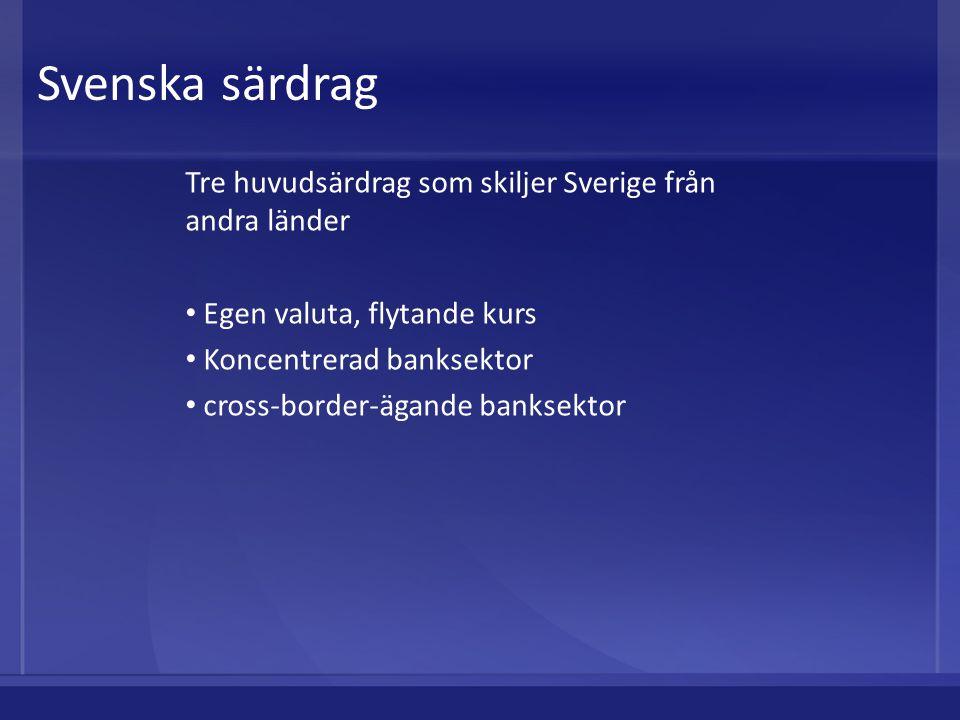 Svenska särdrag Tre huvudsärdrag som skiljer Sverige från andra länder Egen valuta, flytande kurs Koncentrerad banksektor cross-border-ägande banksekt