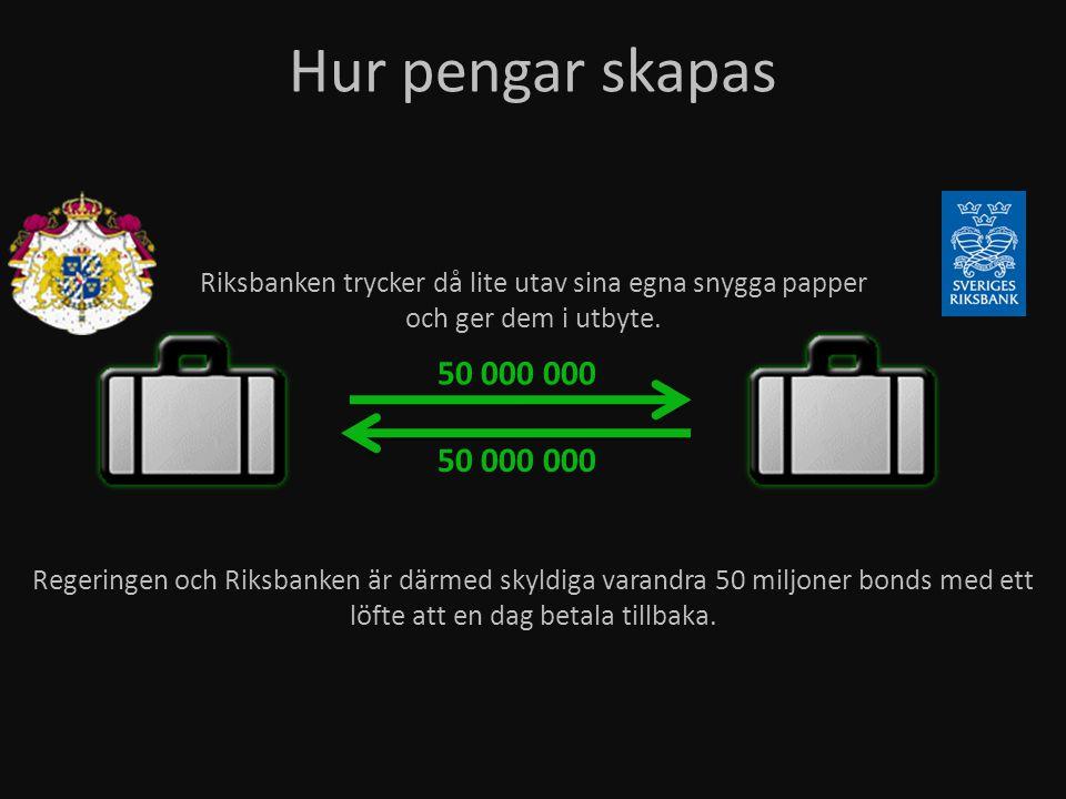 Riksbanken trycker då lite utav sina egna snygga papper och ger dem i utbyte. Hur pengar skapas 50 000 000 Regeringen och Riksbanken är därmed skyldig