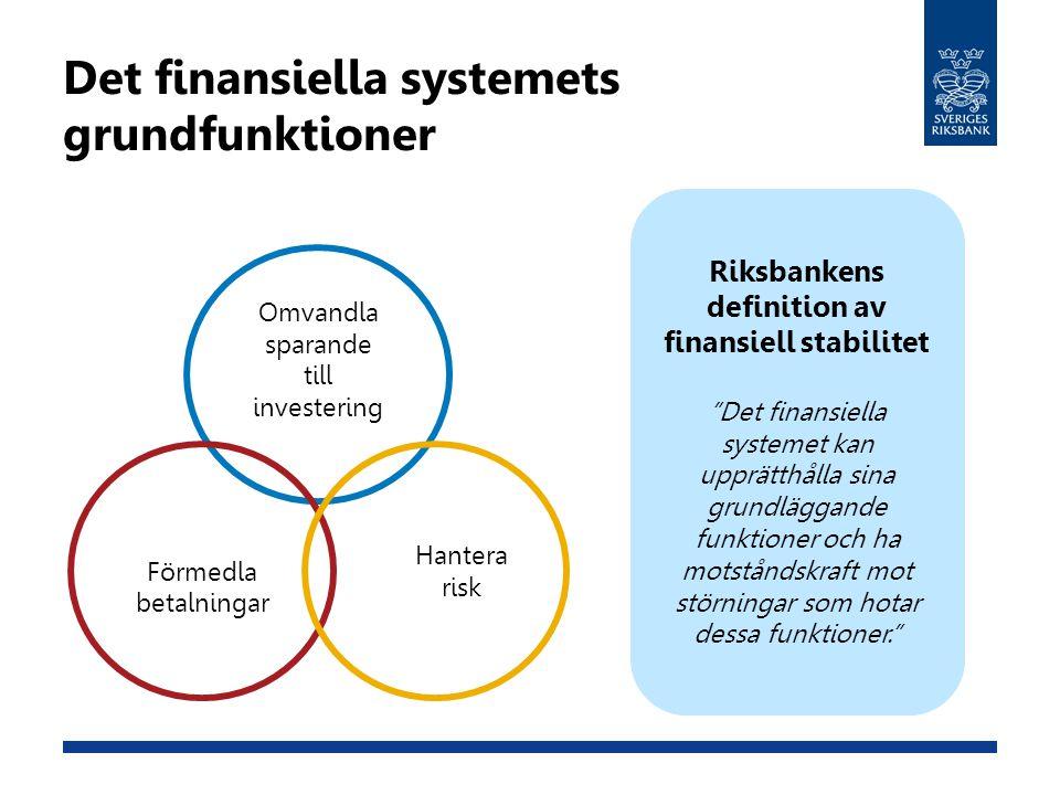 "Det finansiella systemets grundfunktioner Riksbankens definition av finansiell stabilitet ""Det finansiella systemet kan upprätthålla sina grundläggand"