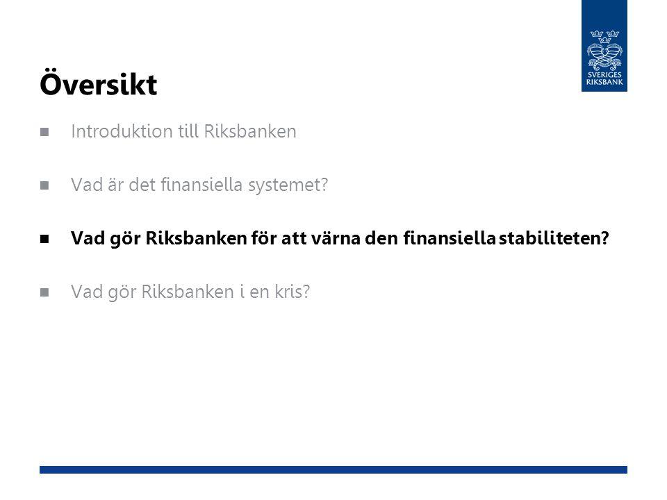 Översikt Introduktion till Riksbanken Vad är det finansiella systemet? Vad gör Riksbanken för att värna den finansiella stabiliteten? Vad gör Riksbank