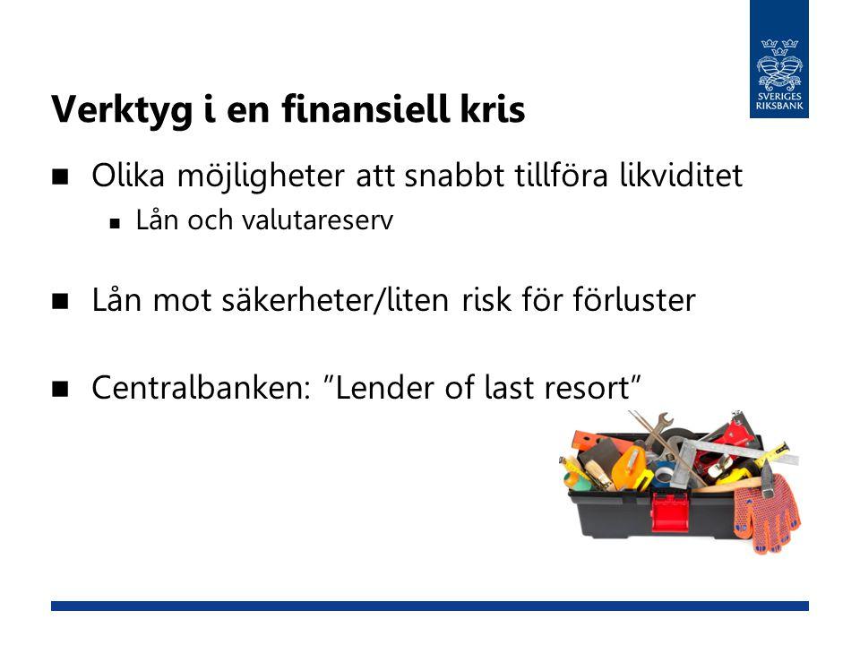 Verktyg i en finansiell kris Olika möjligheter att snabbt tillföra likviditet Lån och valutareserv Lån mot säkerheter/liten risk för förluster Central