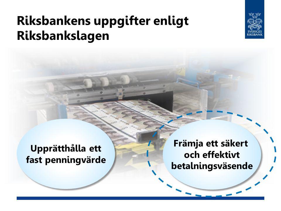 Riksbankens uppgifter enligt Riksbankslagen Upprätthålla ett fast penningvärde Upprätthålla ett fast penningvärde Främja ett säkert och effektivt beta