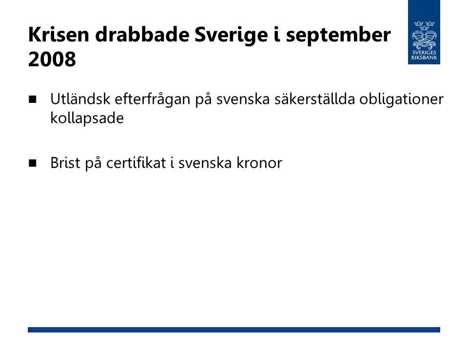 Krisen drabbade Sverige i september 2008 Utländsk efterfrågan på svenska säkerställda obligationer kollapsade Brist på certifikat i svenska kronor