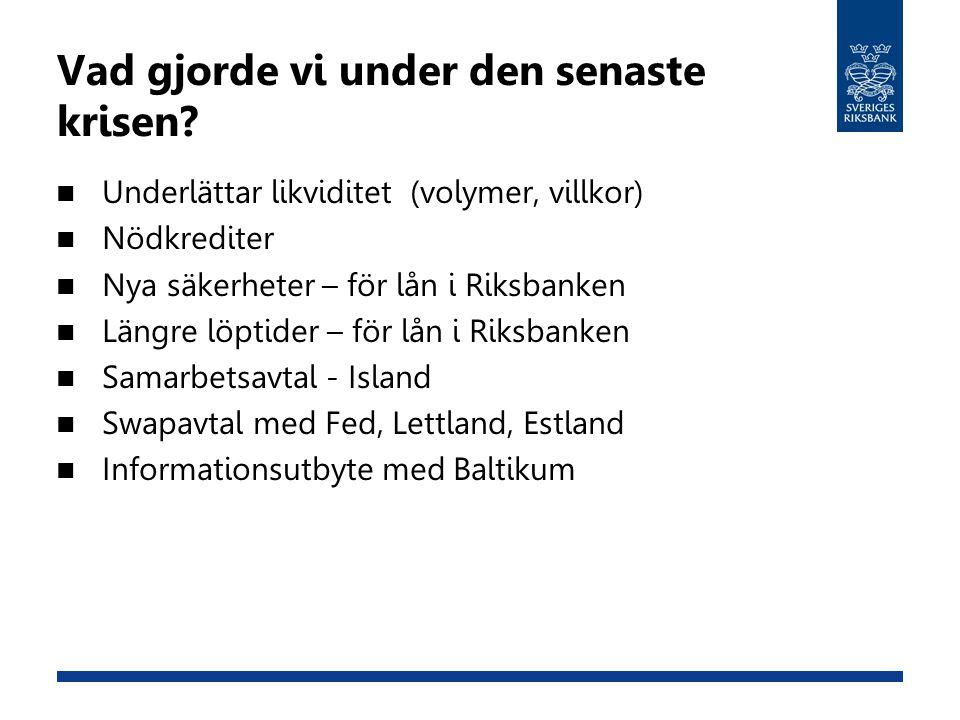 Vad gjorde vi under den senaste krisen? Underlättar likviditet (volymer, villkor) Nödkrediter Nya säkerheter – för lån i Riksbanken Längre löptider –