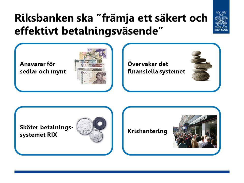 """Riksbanken ska """"främja ett säkert och effektivt betalningsväsende"""" Ansvarar för sedlar och mynt Sköter betalnings- systemet RIX Övervakar det finansie"""