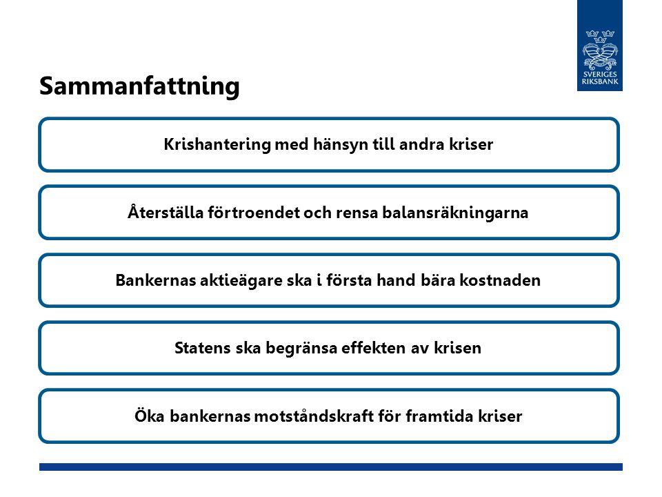 Sammanfattning Krishantering med hänsyn till andra kriser Återställa förtroendet och rensa balansräkningarna Bankernas aktieägare ska i första hand bä