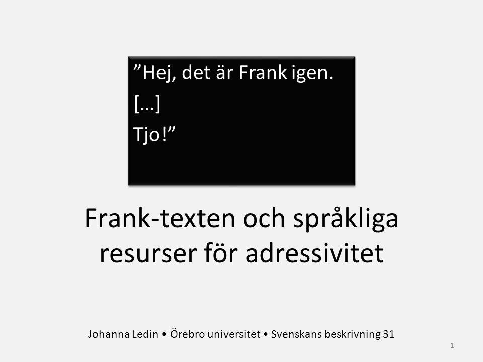 """""""Hej, det är Frank igen. […] Tjo!"""" """"Hej, det är Frank igen. […] Tjo!"""" 1 Frank-texten och språkliga resurser för adressivitet Johanna Ledin Örebro univ"""