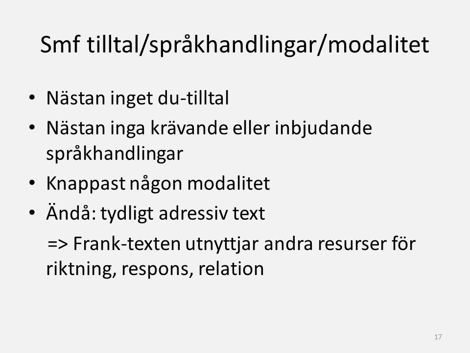 Smf tilltal/språkhandlingar/modalitet Nästan inget du-tilltal Nästan inga krävande eller inbjudande språkhandlingar Knappast någon modalitet Ändå: tyd