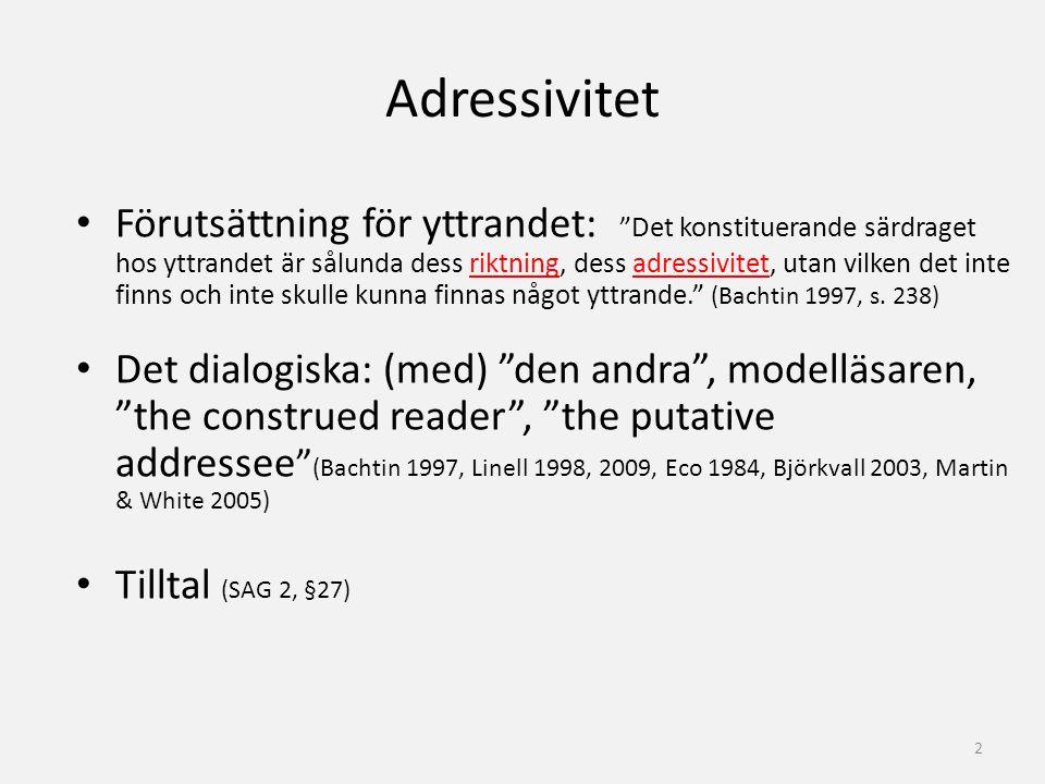 """Adressivitet Förutsättning för yttrandet: """"Det konstituerande särdraget hos yttrandet är sålunda dess riktning, dess adressivitet, utan vilken det int"""