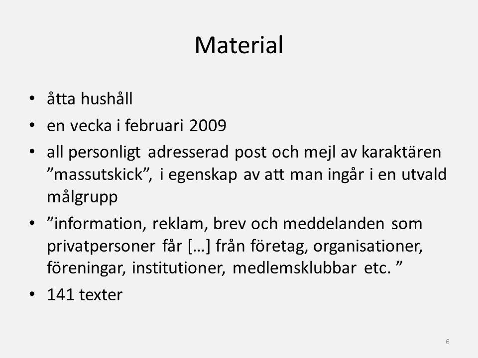 """Material åtta hushåll en vecka i februari 2009 all personligt adresserad post och mejl av karaktären """"massutskick"""", i egenskap av att man ingår i en u"""