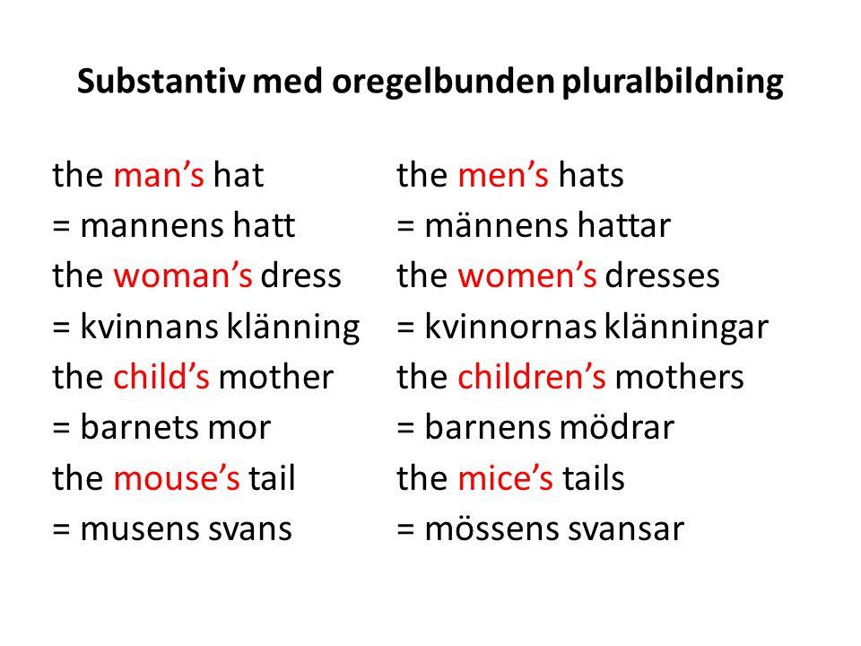 Substantiv med oregelbunden pluralbildning the man's hatthe men's hats = mannens hatt= männens hattar the woman's dressthe women's dresses = kvinnans