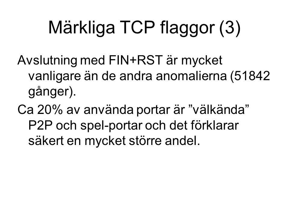 Märkliga TCP flaggor (3) Avslutning med FIN+RST är mycket vanligare än de andra anomalierna (51842 gånger).