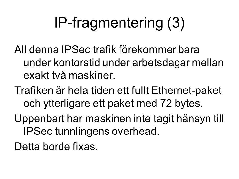 IP-fragmentering (3) All denna IPSec trafik förekommer bara under kontorstid under arbetsdagar mellan exakt två maskiner.