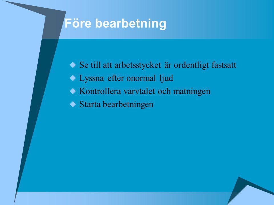 Före bearbetning  Se till att arbetsstycket är ordentligt fastsatt  Lyssna efter onormal ljud  Kontrollera varvtalet och matningen  Starta bearbet