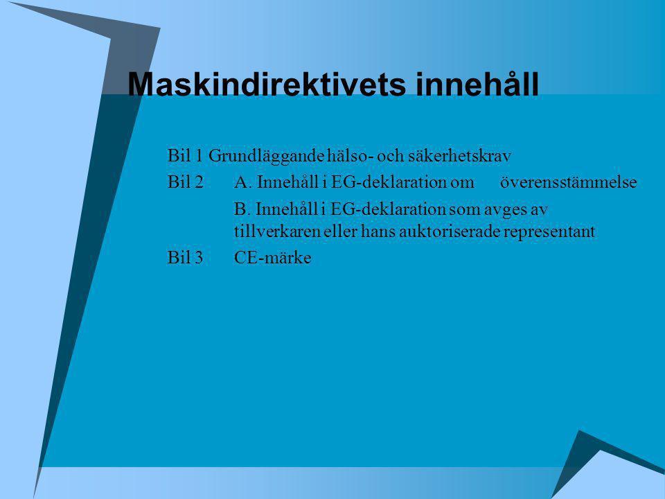 Maskindirektivets innehåll Bil 4Farliga maskiner för vilka proceduren enligt artikel 8 måste tillämpas Bil 5EG-deklaration om överensstämmelse Bil 6EG-typkontroll Bil 7Minimikrav som skall betraktas vid auktorisation av kontrollorgan