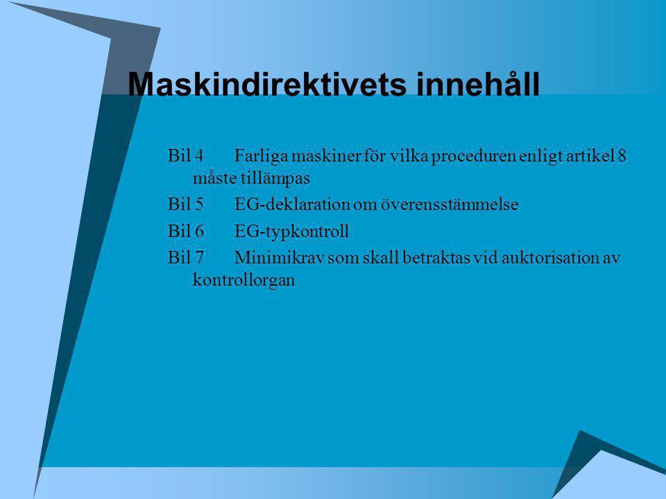 Maskindirektivets innehåll Bil 4Farliga maskiner för vilka proceduren enligt artikel 8 måste tillämpas Bil 5EG-deklaration om överensstämmelse Bil 6EG